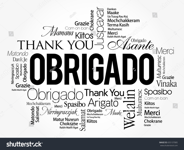 Obrigado Thank You Portuguese Word Cloud Stock Vector