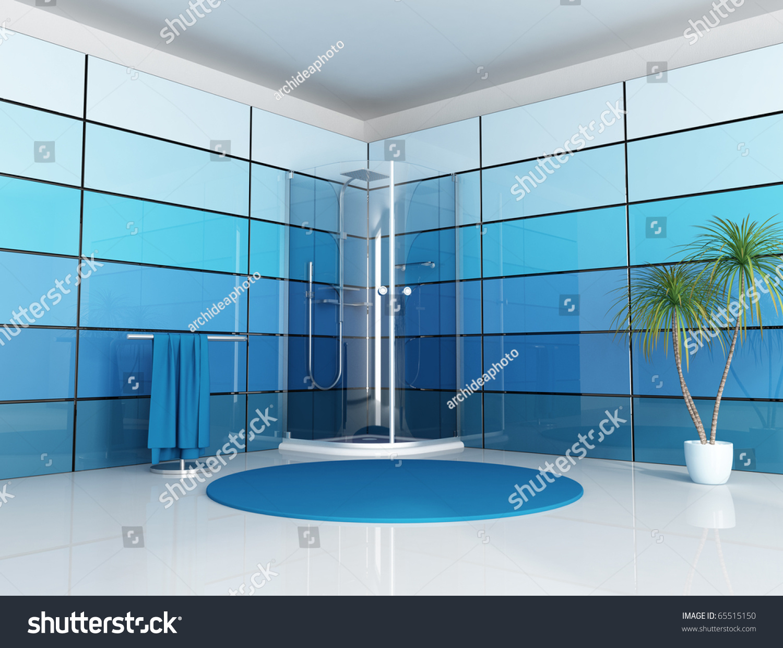 Modern Bathroom Cabin Shower Blue Panel Stock Illustration 65515150 ...