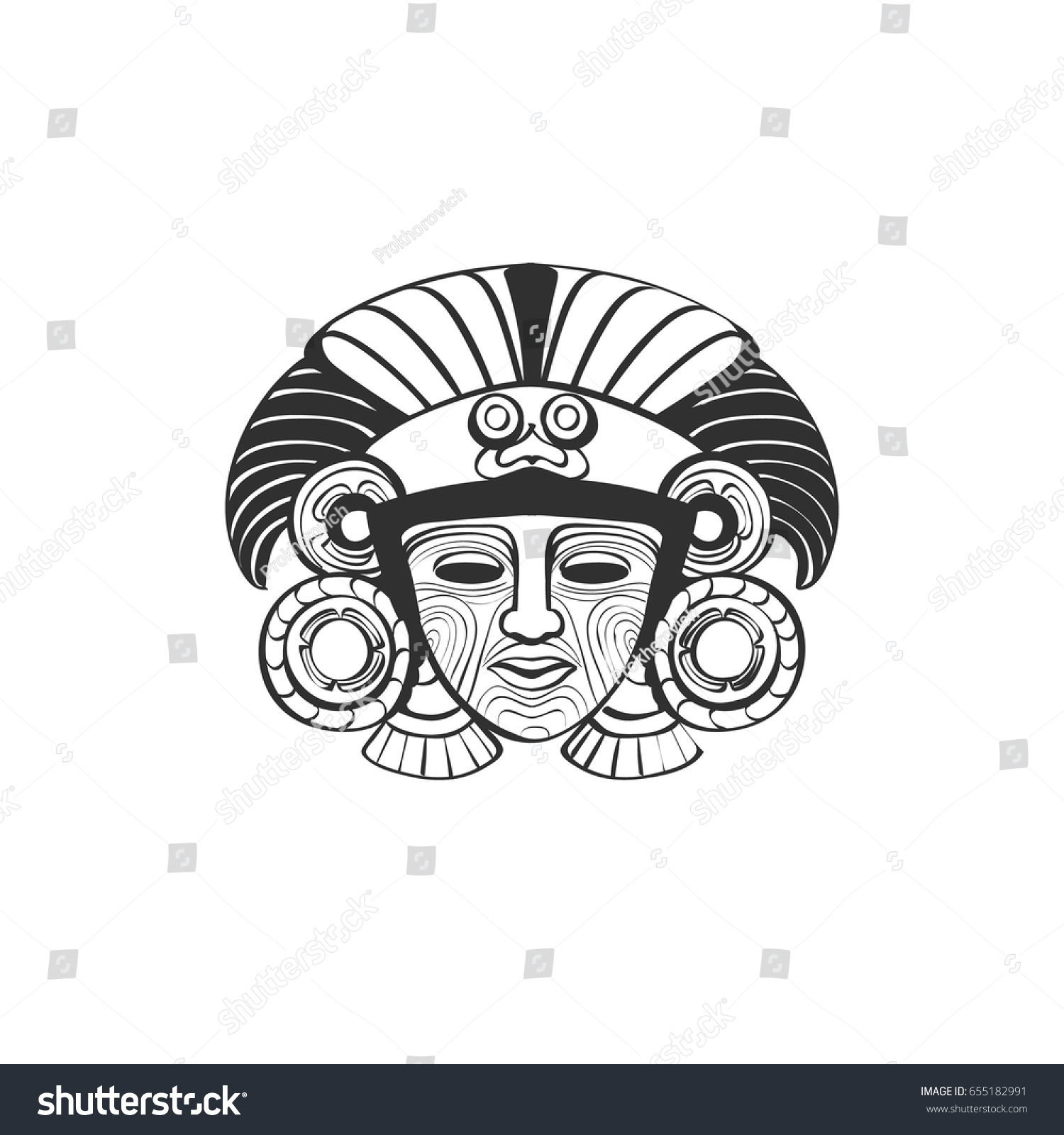 vector stylized indian mask aztec ritual stock vector royalty free