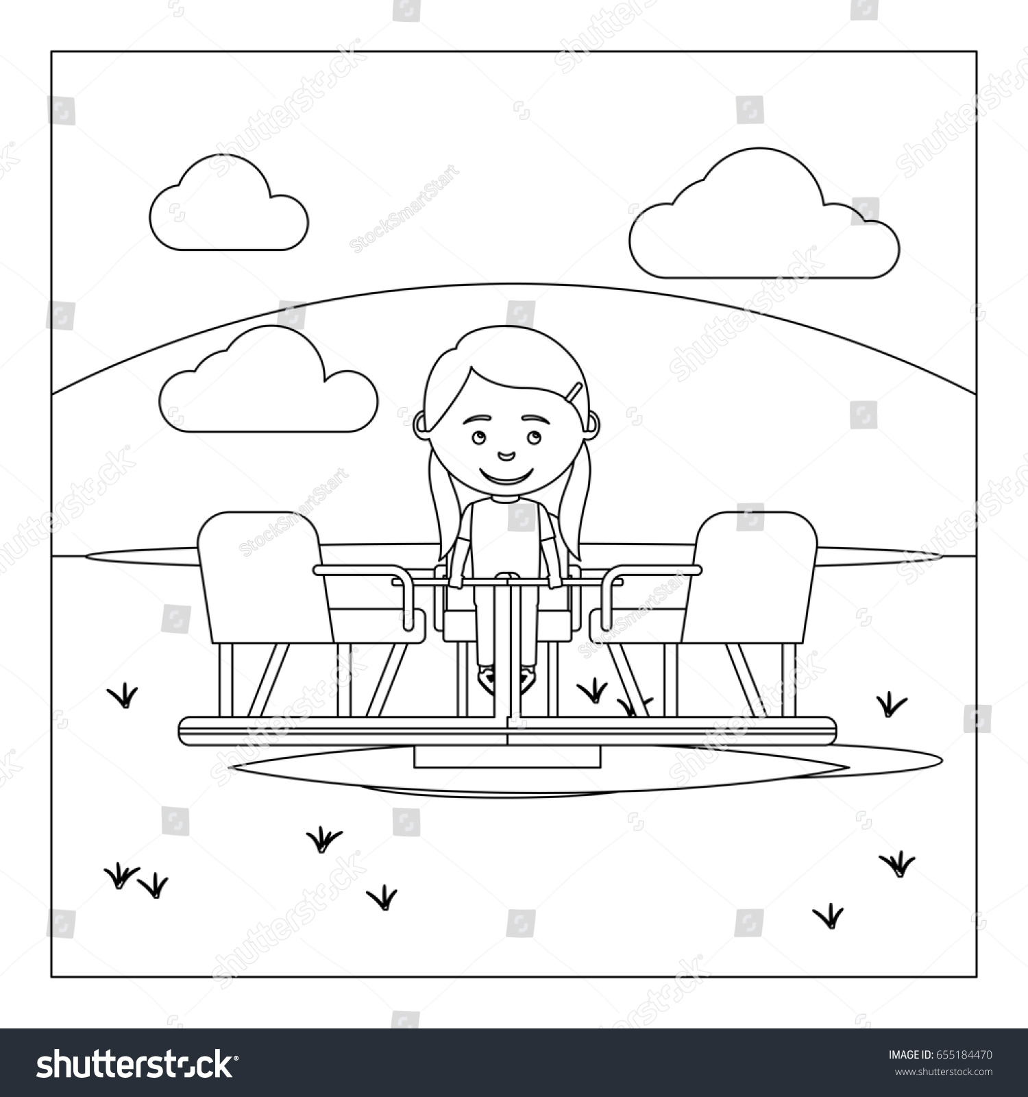 Coloring book page of a playground - Coloring Book Page Design With Kid On Playground Illustration