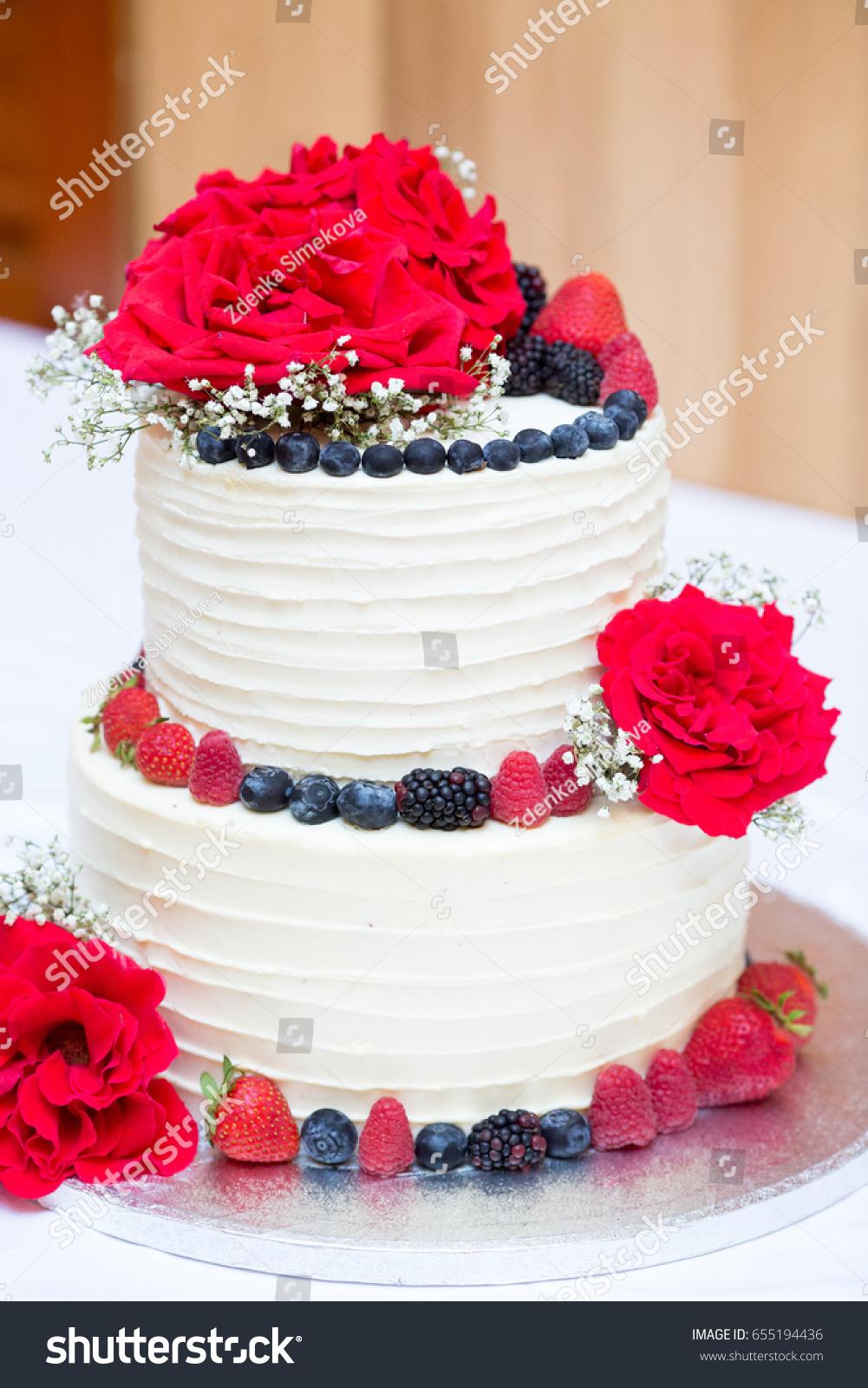 Two Layers Birthday Cream Berries Cake Stock Photo (Royalty Free ...