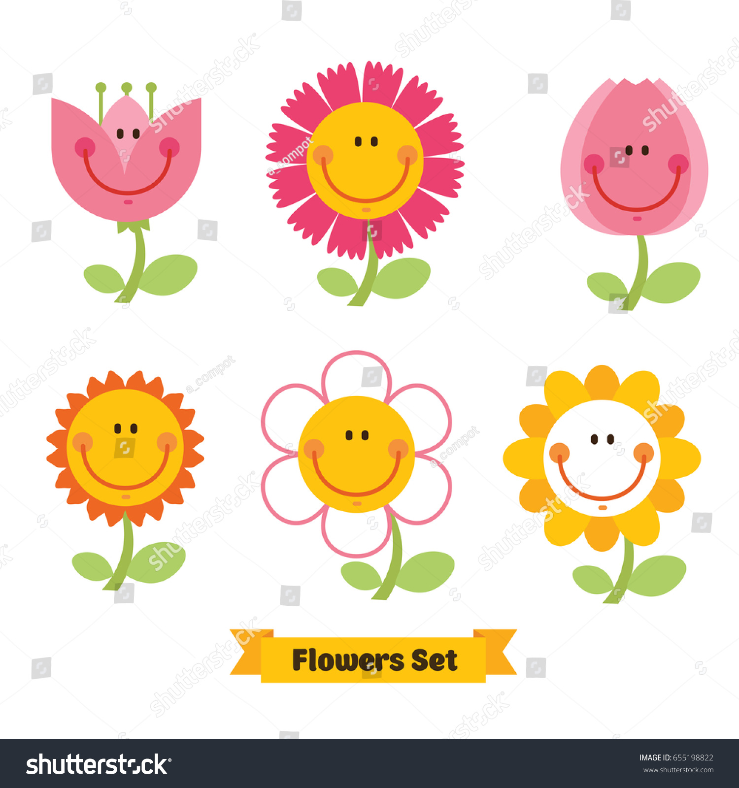 Cute flowers emoticon set funny smiley stock vector royalty free cute flowers emoticon set funny smiley flowers happy doodles for your design bright izmirmasajfo