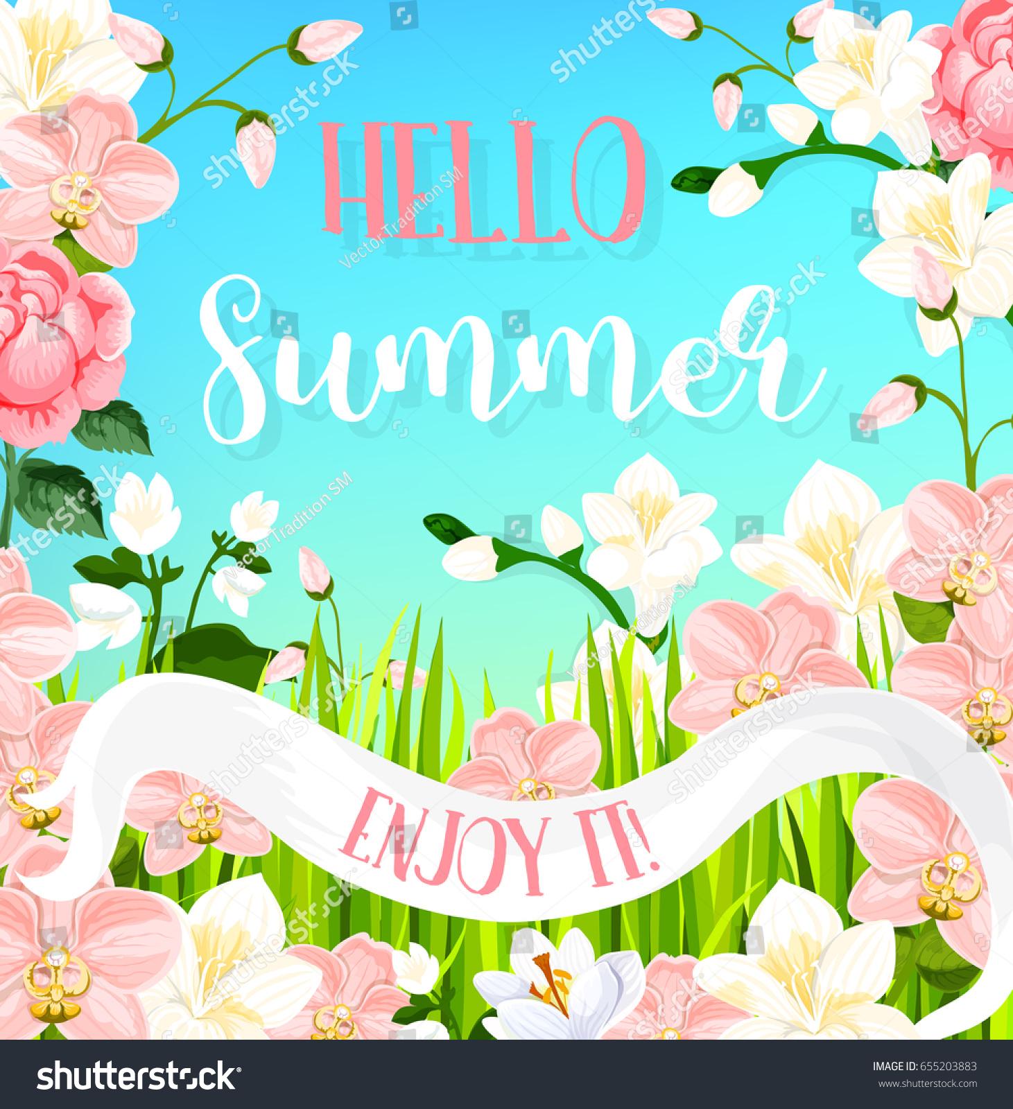 Hello Summer Greeting Card Flourish Bouquets Stock Vector Royalty