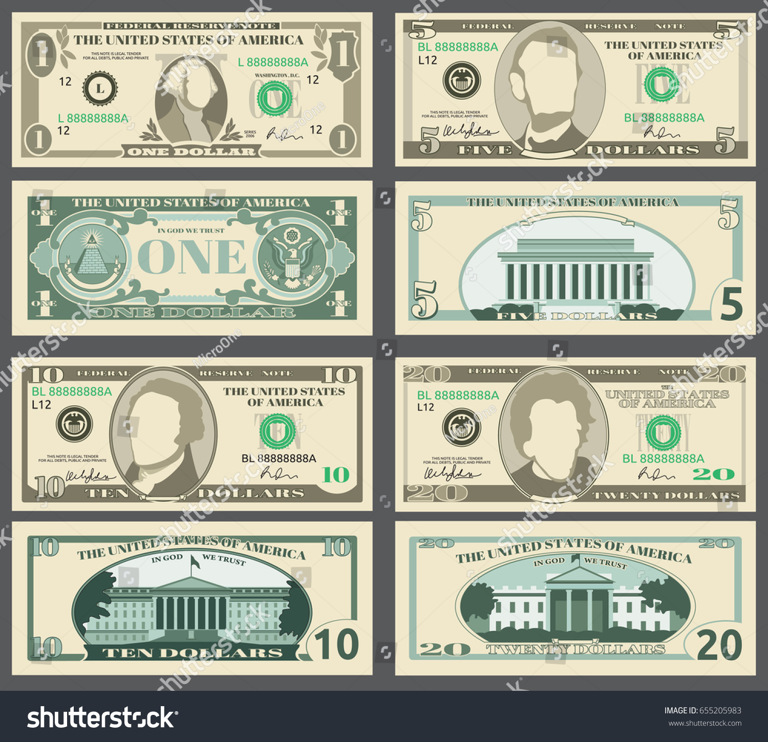 dollar banknotes us currency money bills set templates of banknotes illustration of american