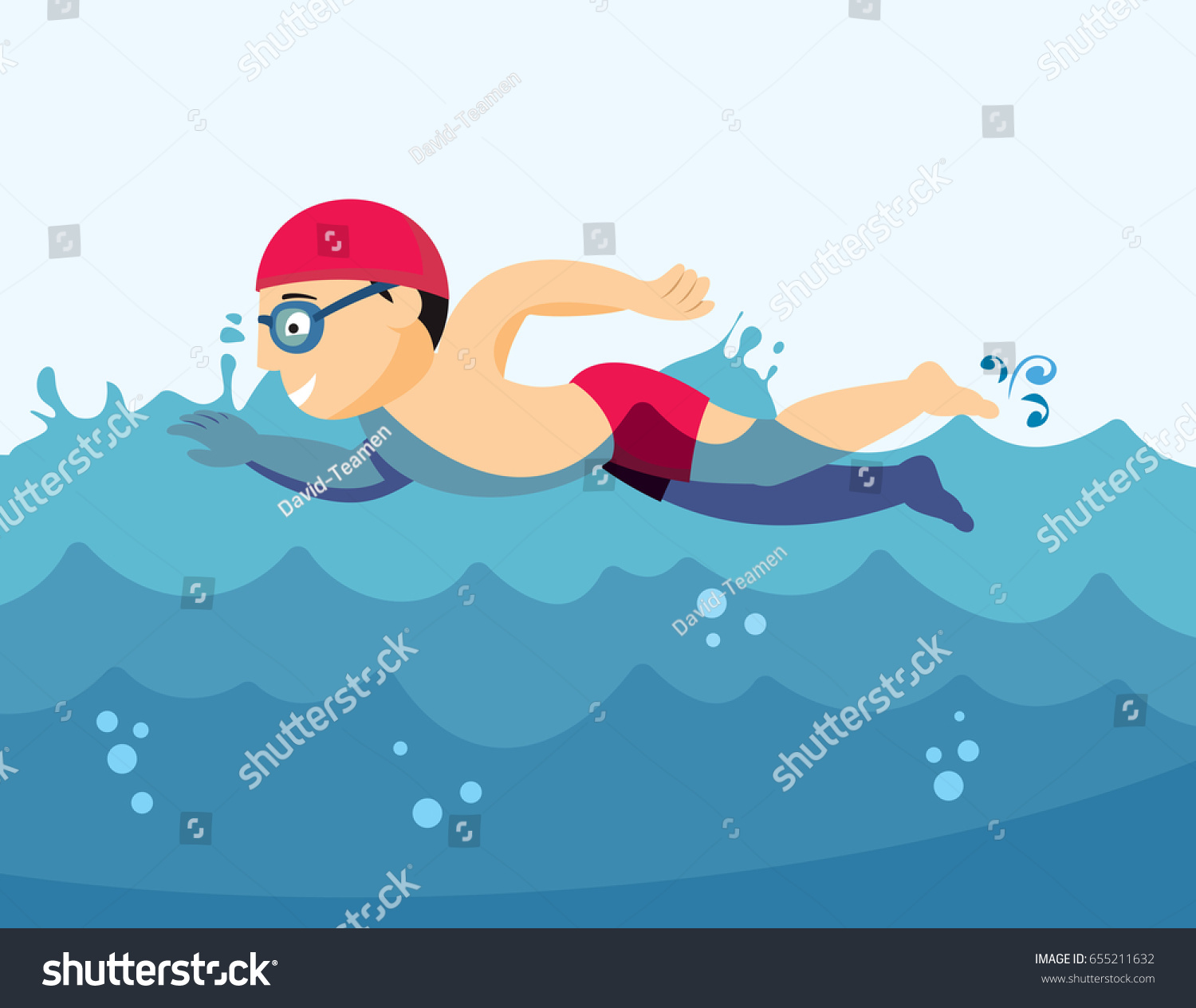 Young Professional Swimmer Sea Summer Sports Stock Vector Royalty Free 655211632