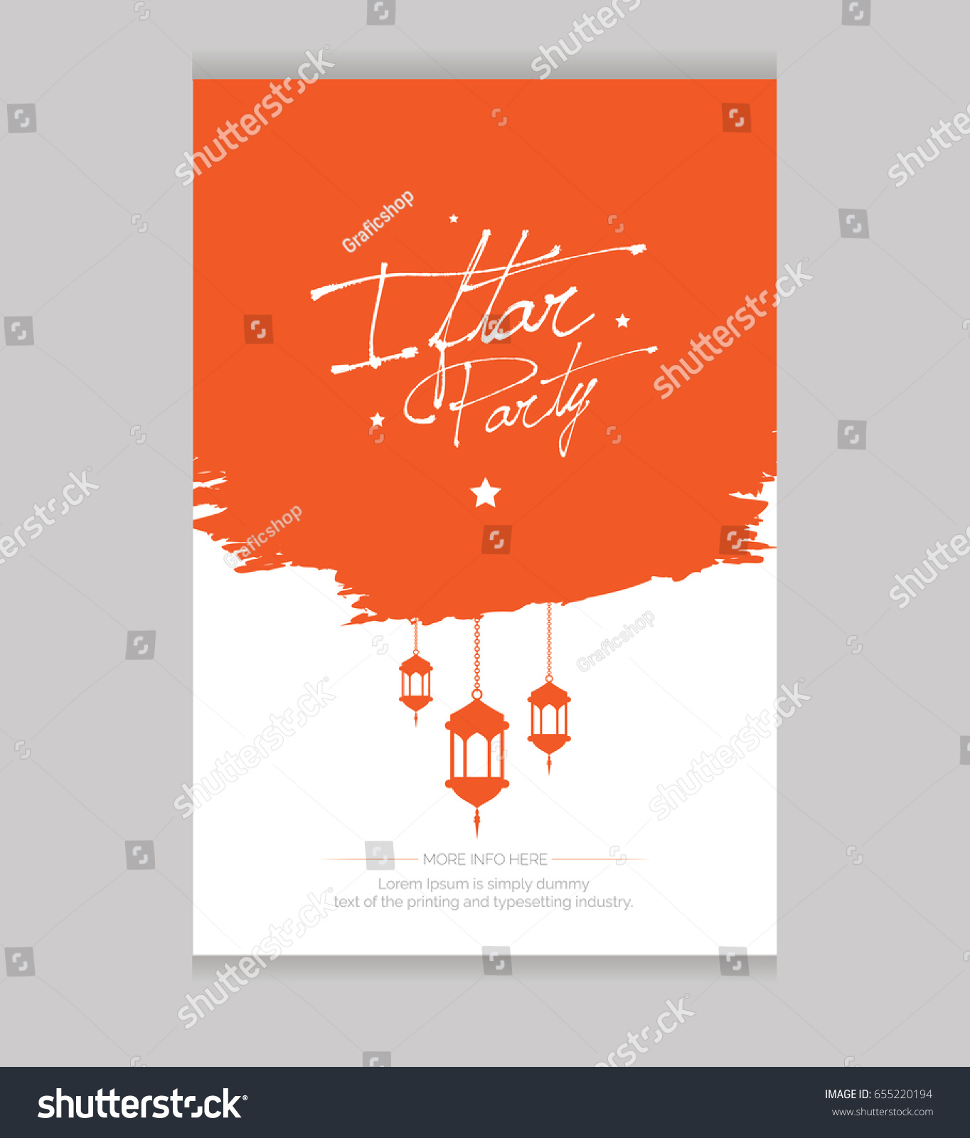 Iftar Party Invitation Card Template Design Stock Vector 655220194 ...