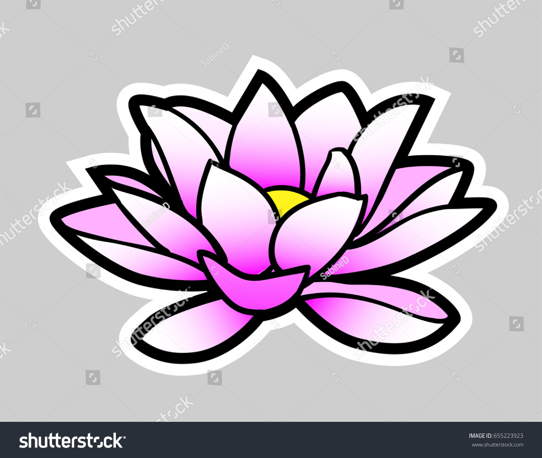 Cartoon Lotus Flower Gray Background On Stock Vector Royalty Free