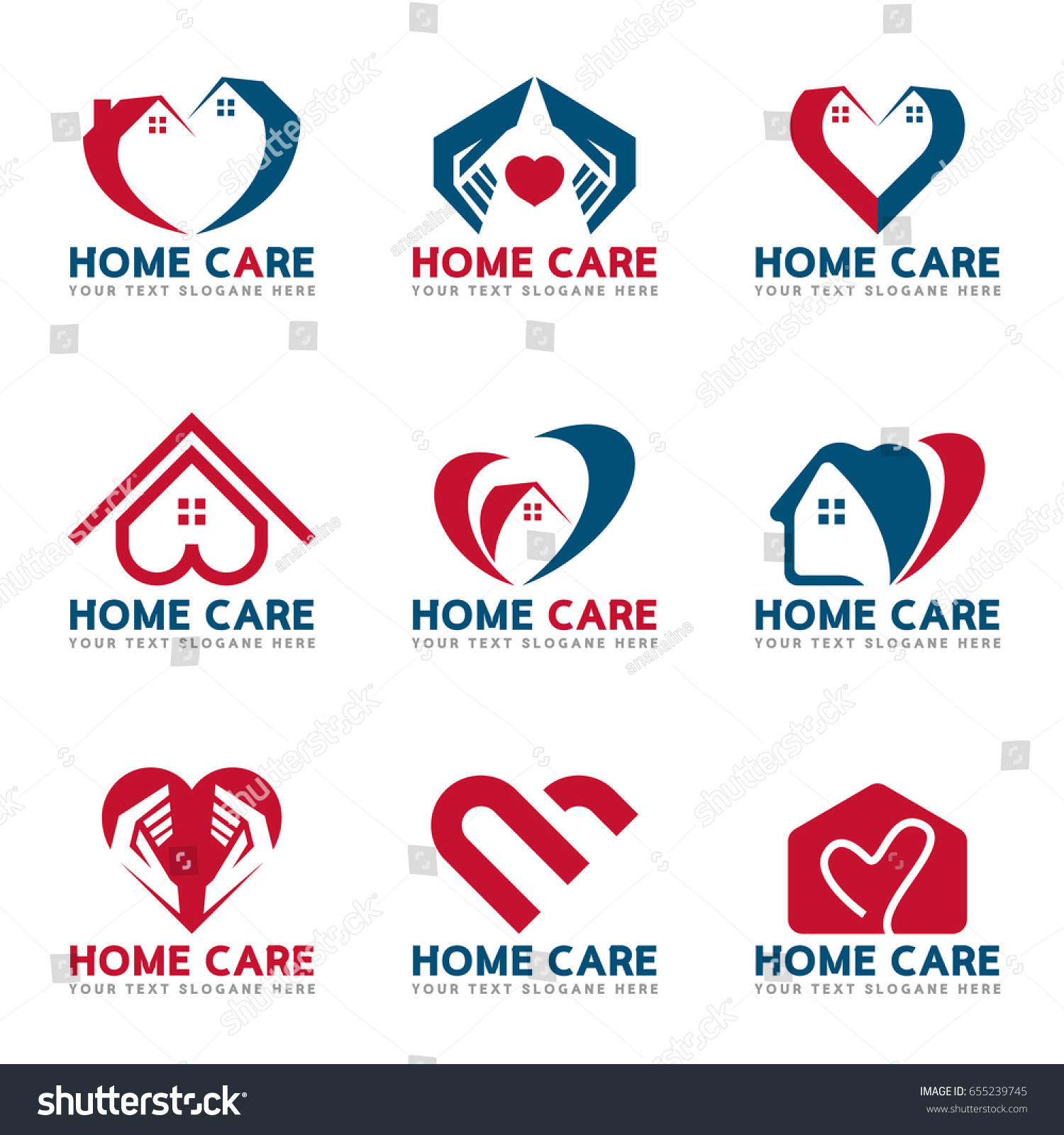 Red blue home heart care logo stock vector 655239745 shutterstock - Home health care logo design ...