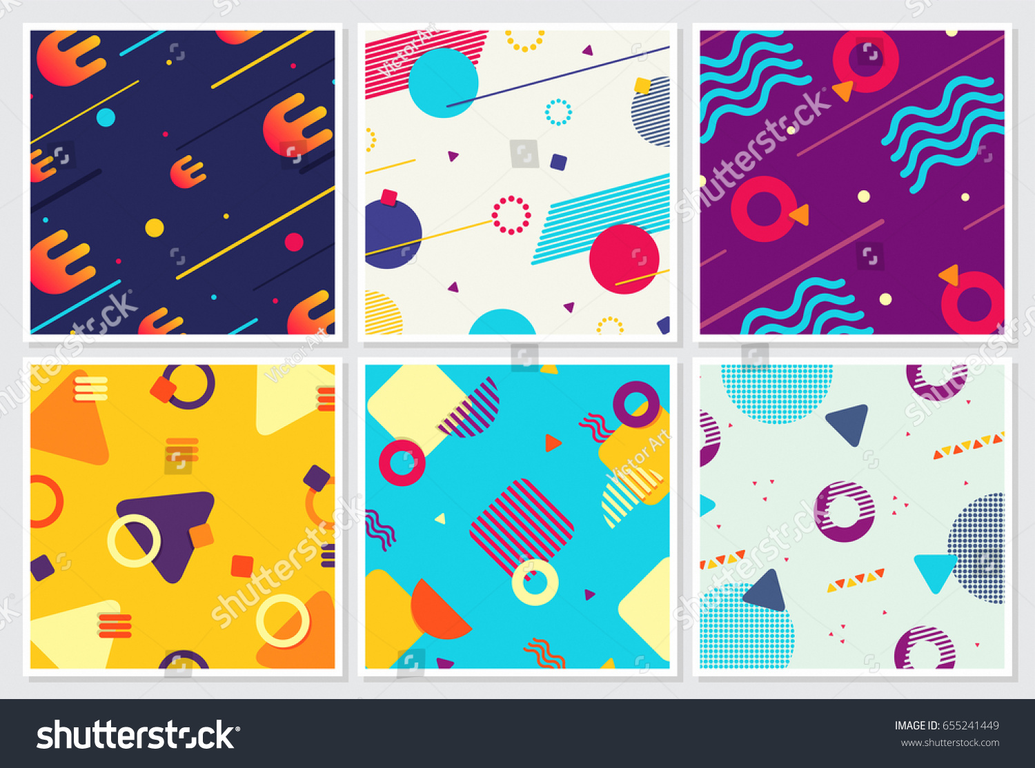 Memphis Style Backgrounds Design Collection Colorful Stock Vector ...