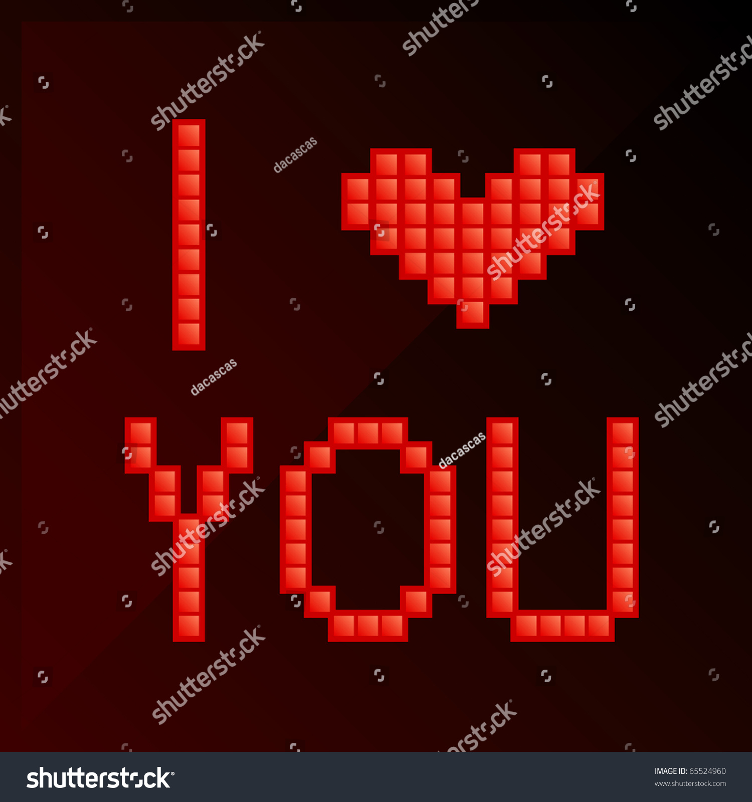 Pixel Art I Love You