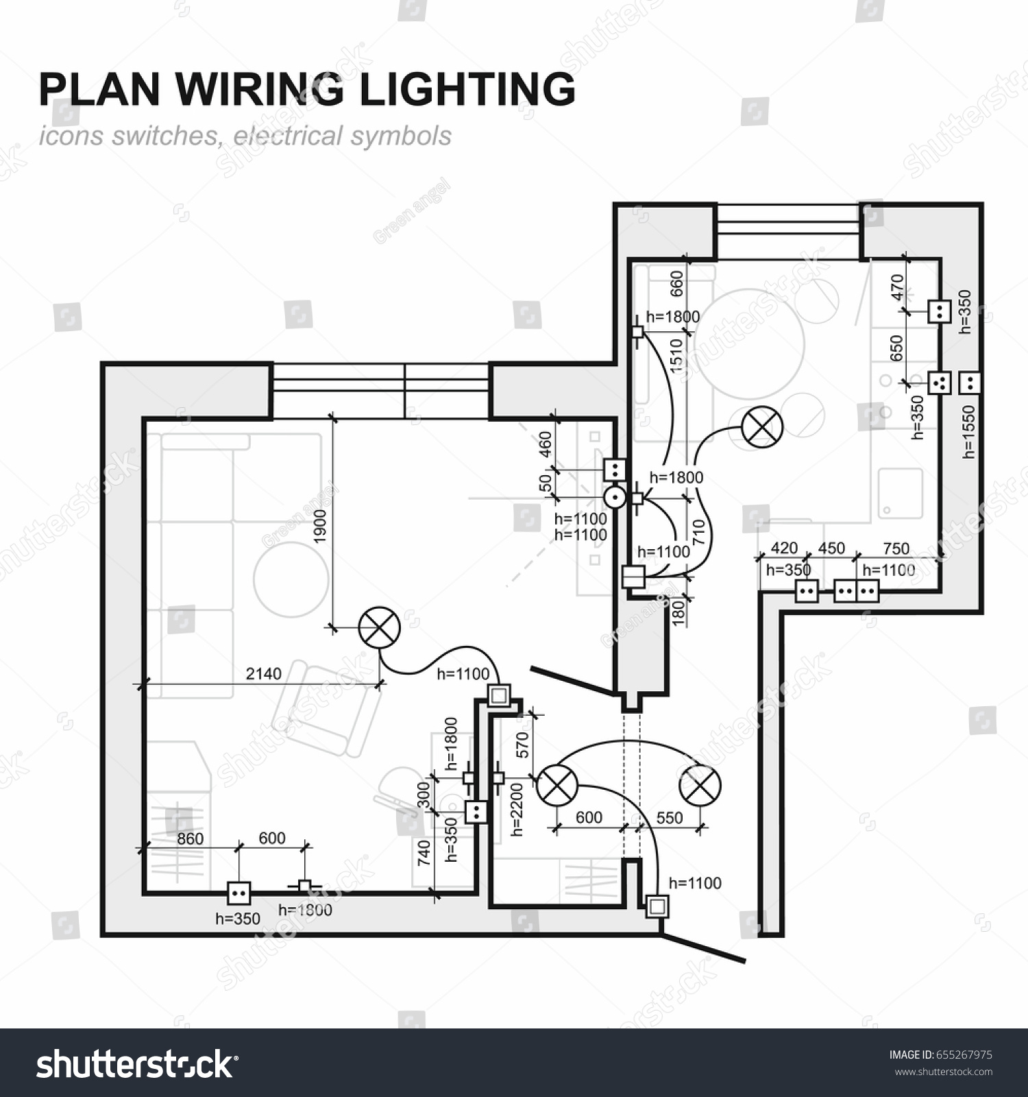 Plan Wiring Lighting Electrical Schematic Interior Stock Vector Home Plans Floor Set Of Standard Icons Switches Symbols