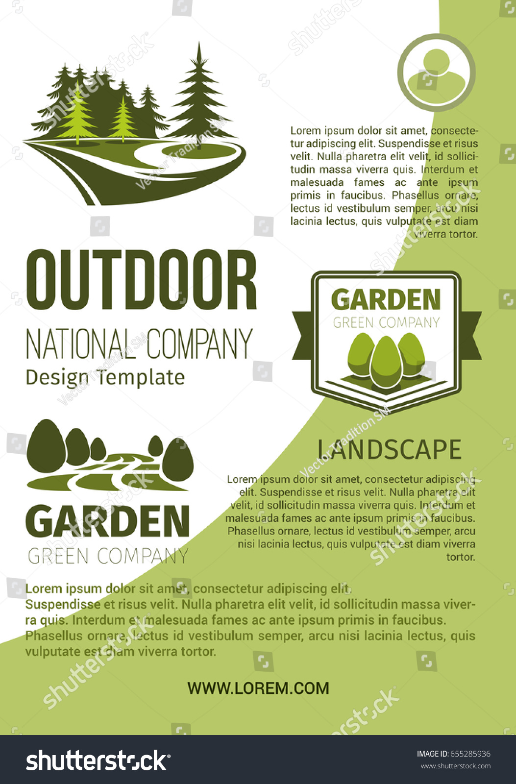 outdoor green landscape and garden designing company and horticulture organization poster design template vector park