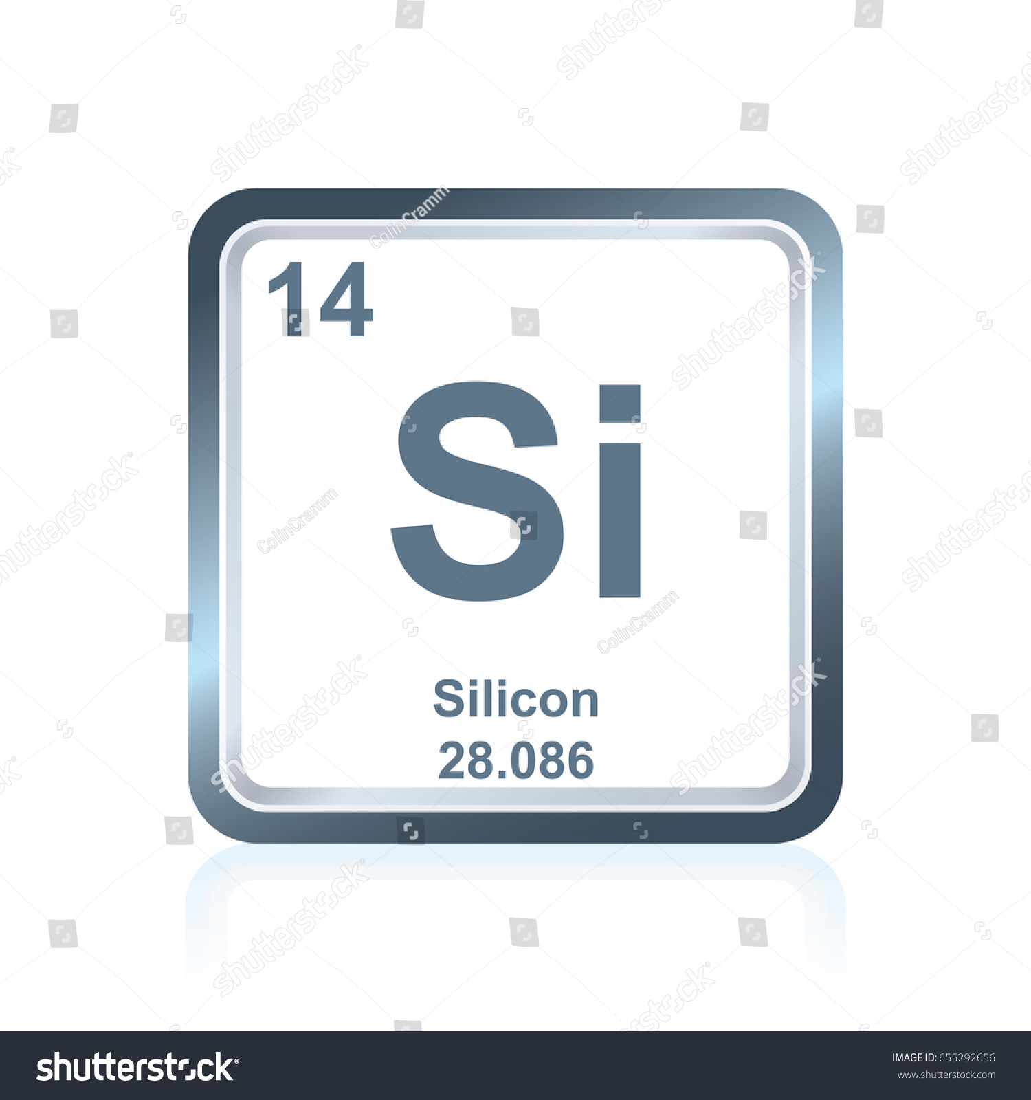 Symbol Chemical Element Silicon Seen On Stock Vector Royalty Free