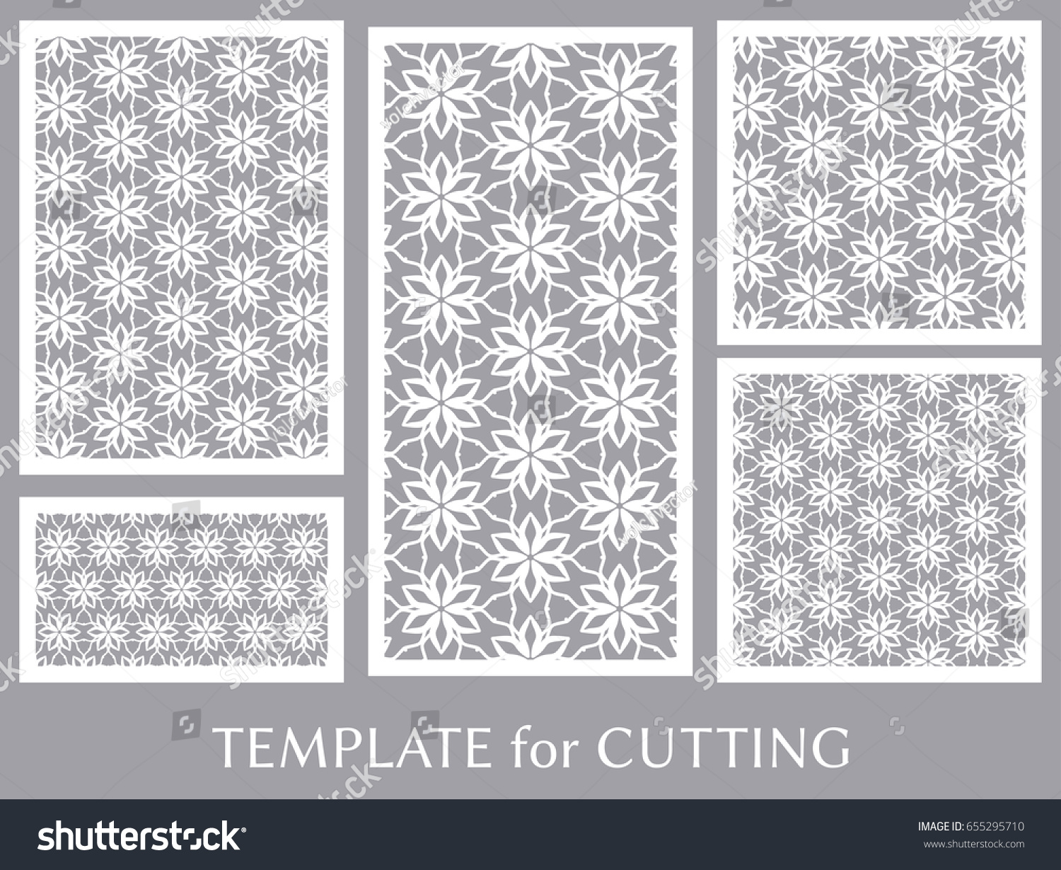 Decorative Panels Set Laser Cutting Geometric Stock Vector (Royalty ...