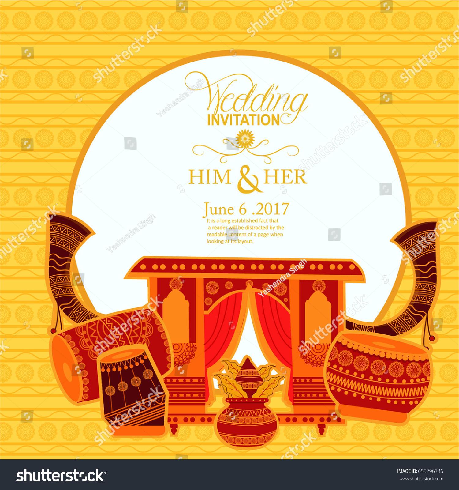 Wedding Invitation Card Stock Vector (Royalty Free) 655296736 ...