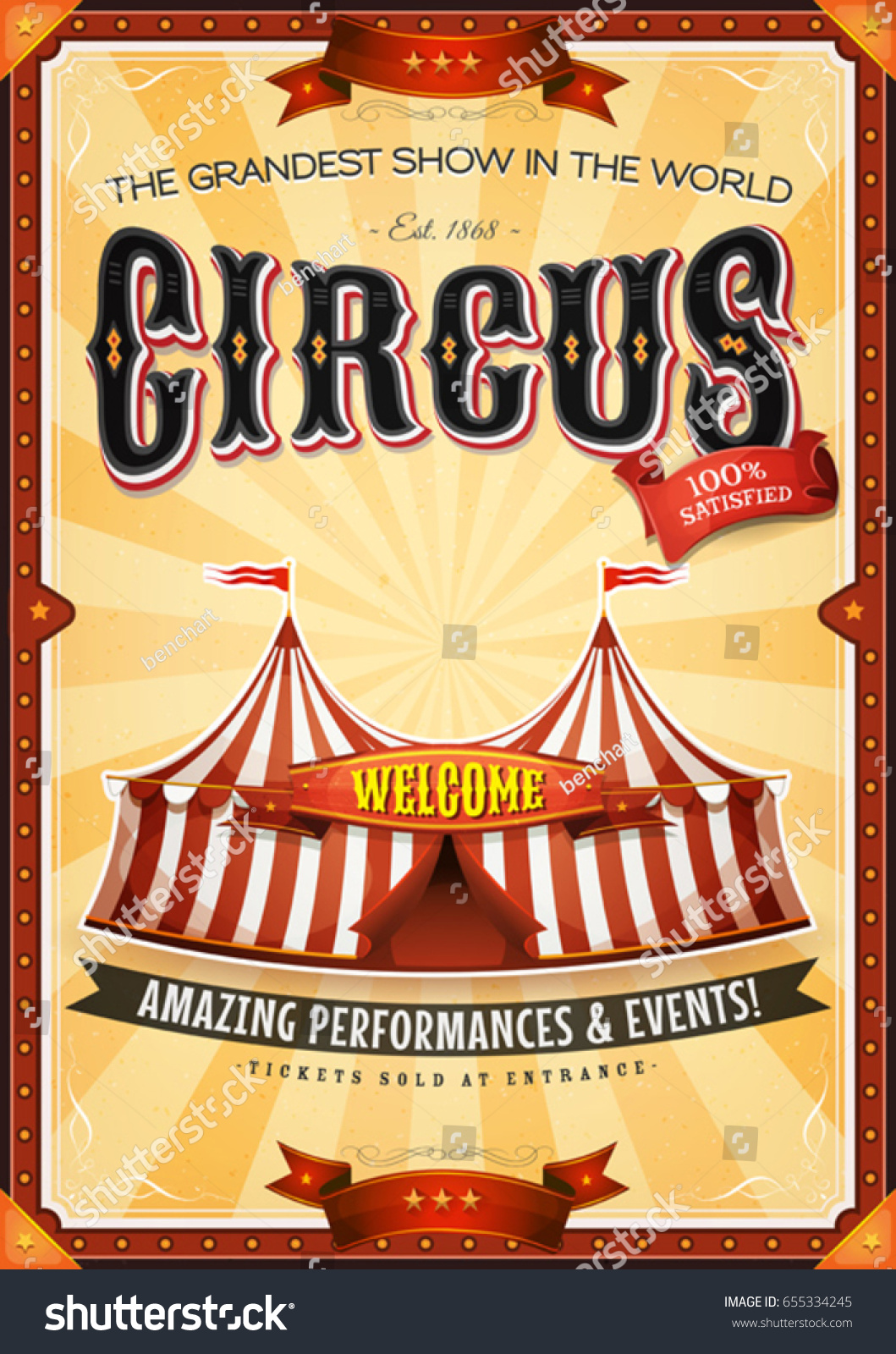Vintage Grand Circus Poster Marquee Illustration Stock-Vektorgrafik ...