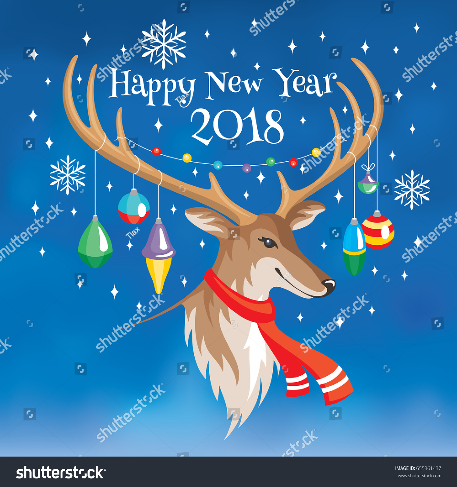 2018 happy new year greeting card stock vector 655361437