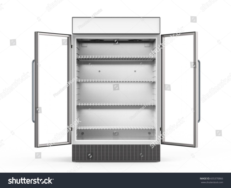 3 D Rendering Empty Commercial Fridge Glass Stock Illustration