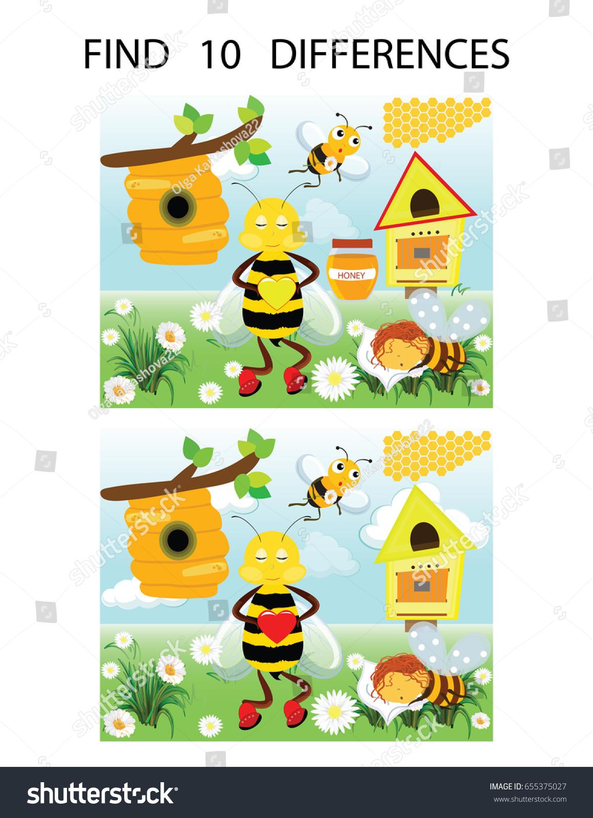 Find Ten Differences Vector Illustration Preschool Stock Vector ...