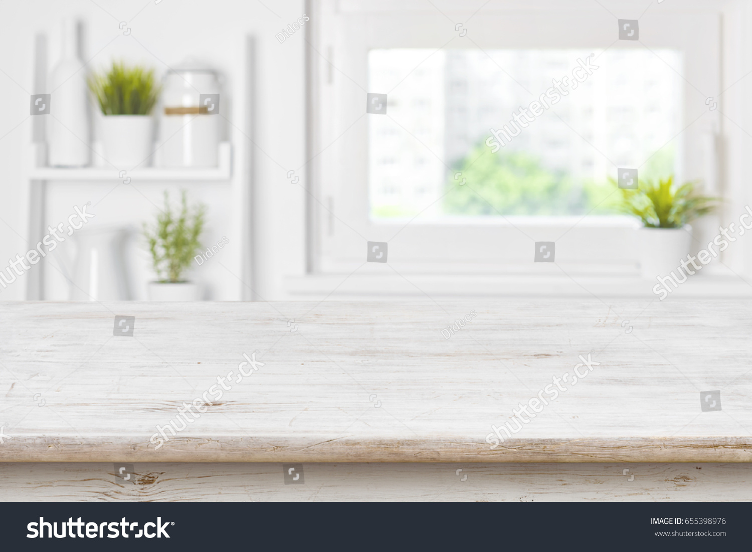 Empty living room with large windows can be as background stock - Empty Textured Wooden Table And Kitchen Window Shelves Blurred Background