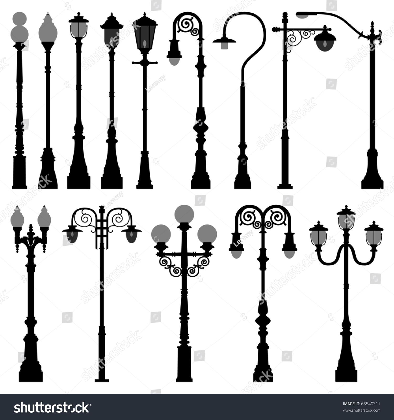 Light Pole Terminology: Lamp Post Lamppost Street Road Light Pole Stock Vector