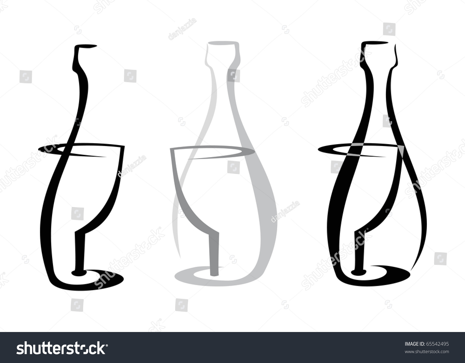 outline of wine bottle and glass on white background isolated design element black line. Black Bedroom Furniture Sets. Home Design Ideas