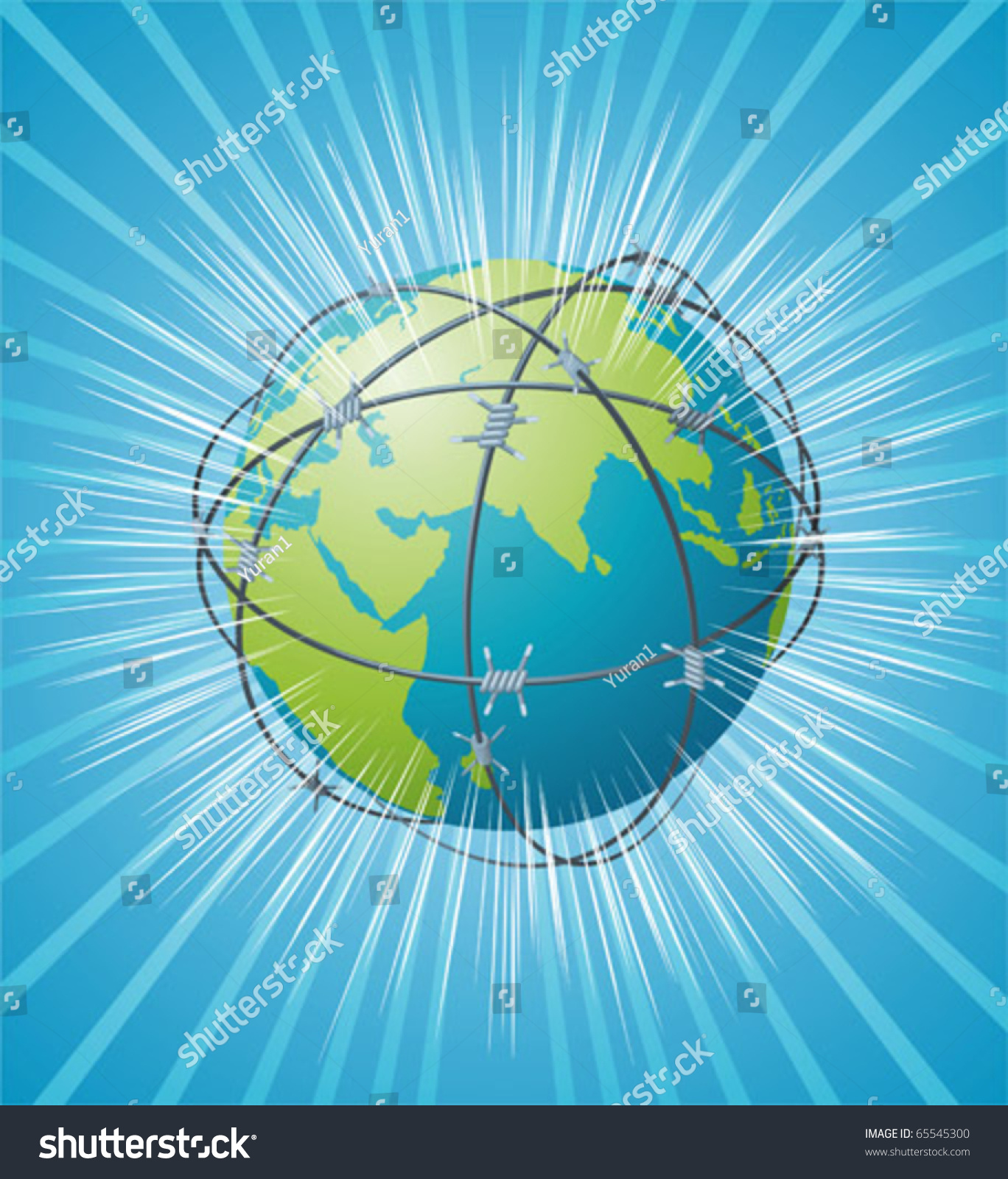 Earth Swathed By Barbed Wire Stock Vector 65545300 - Shutterstock