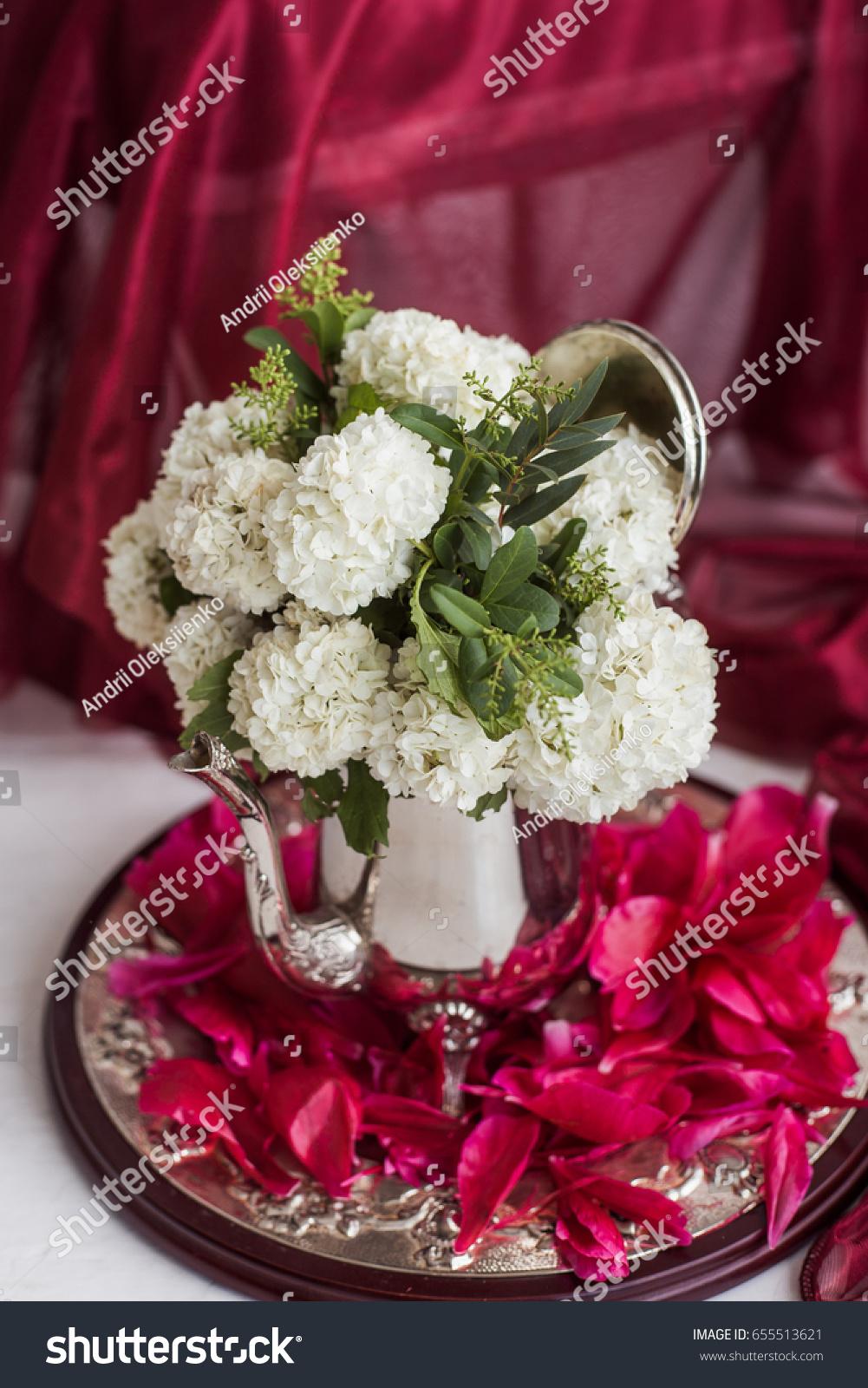 Beautiful Bouquet White Fresh Flowers Silver Stock Photo 655513621 ...