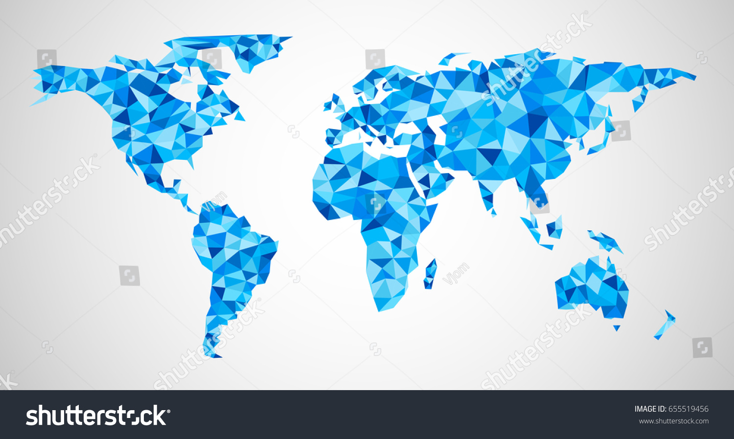 Blue mosaic geometric abstract world map stock vector 655519456 blue mosaic geometric abstract world map vector illustration gumiabroncs Images