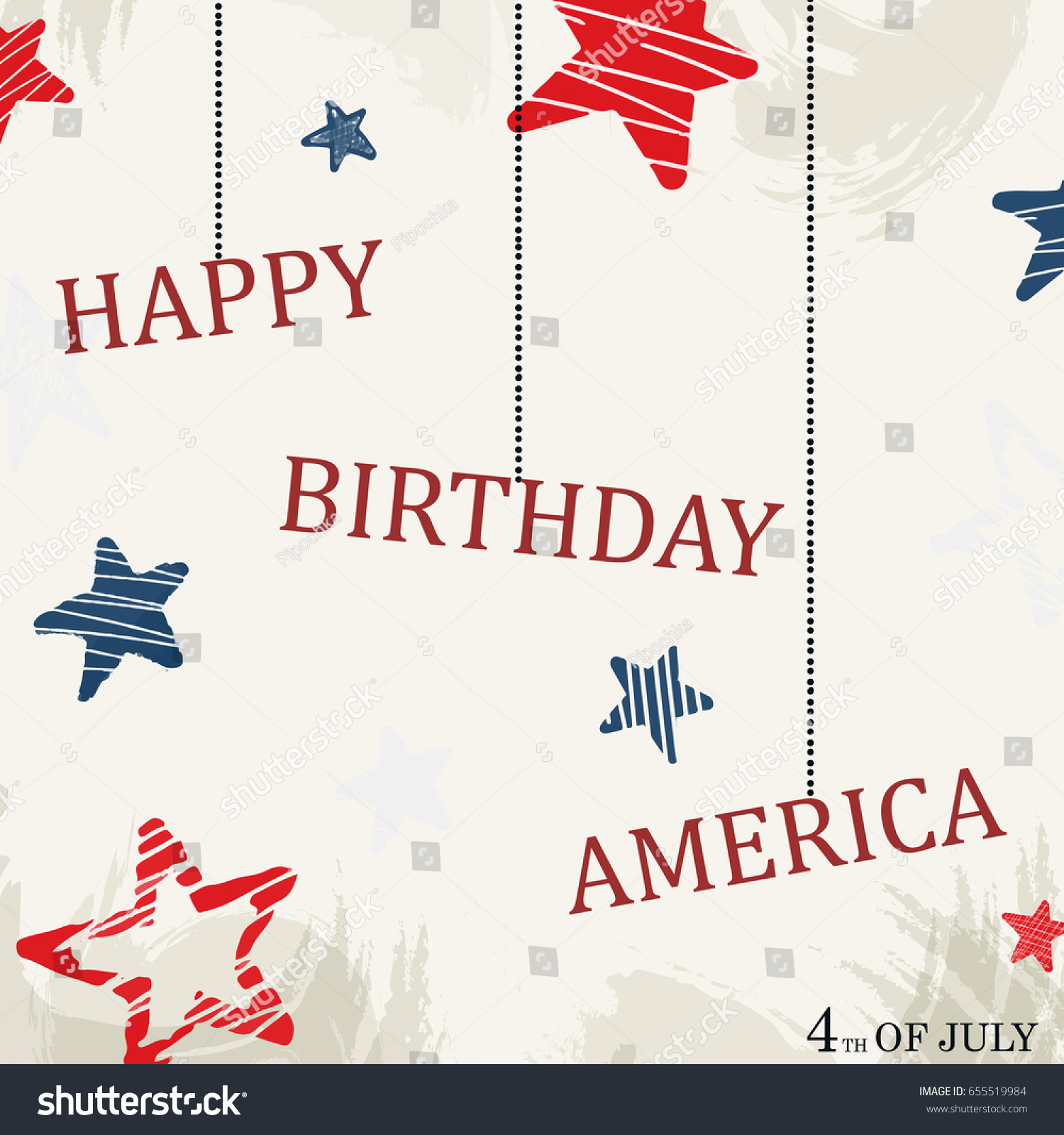 Happy Birthday America Template Background Usa Stock Vector
