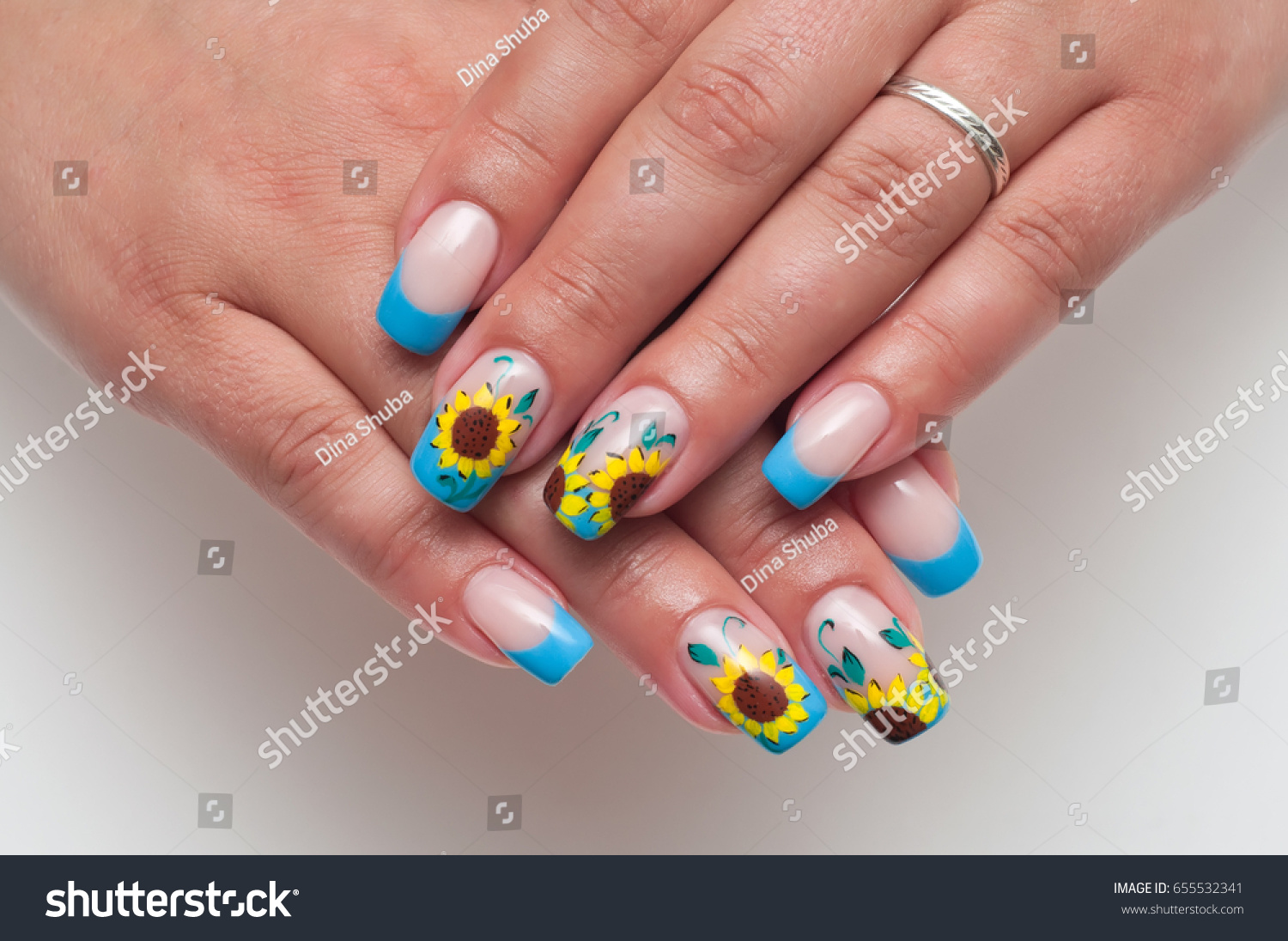 French Blue Manicure On Long Square Stock Photo (Royalty Free ...
