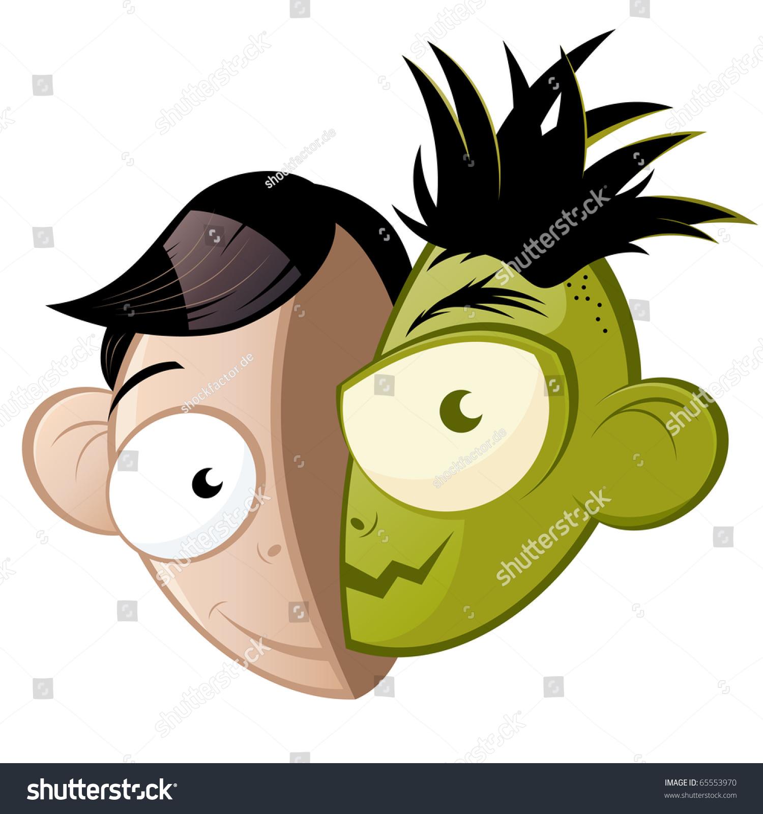 funny good evil cartoon head のベクター画像素材 ロイヤリティフリー