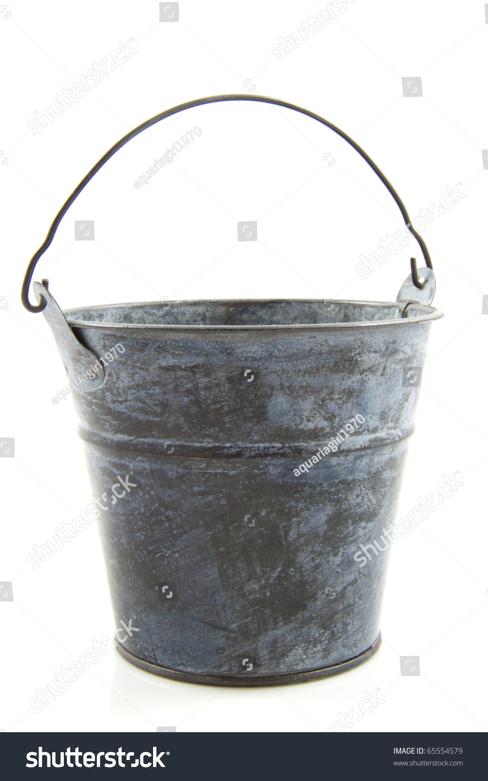 Old metal bucket isolated on a white background stock for Old metal buckets