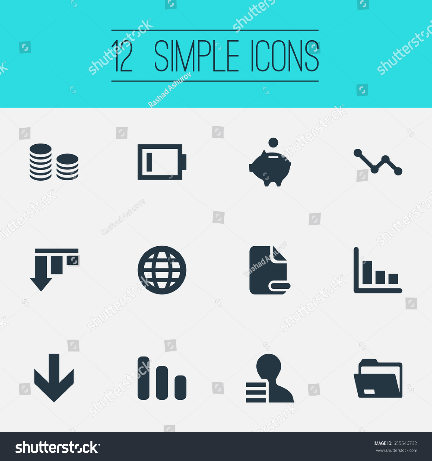 Vector Illustration Set Simple Trouble Icons Stock Vector