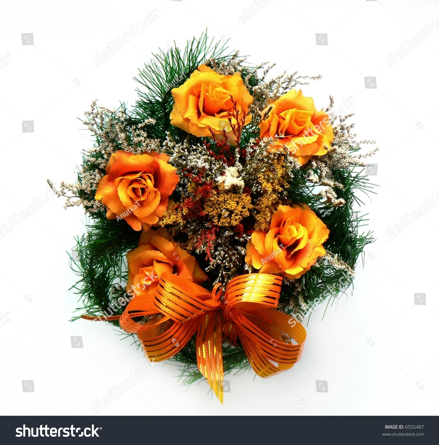 Grave Decoration Wreath Grave Funeral Cemetery Flowers Bunch Stock Photo 6555487
