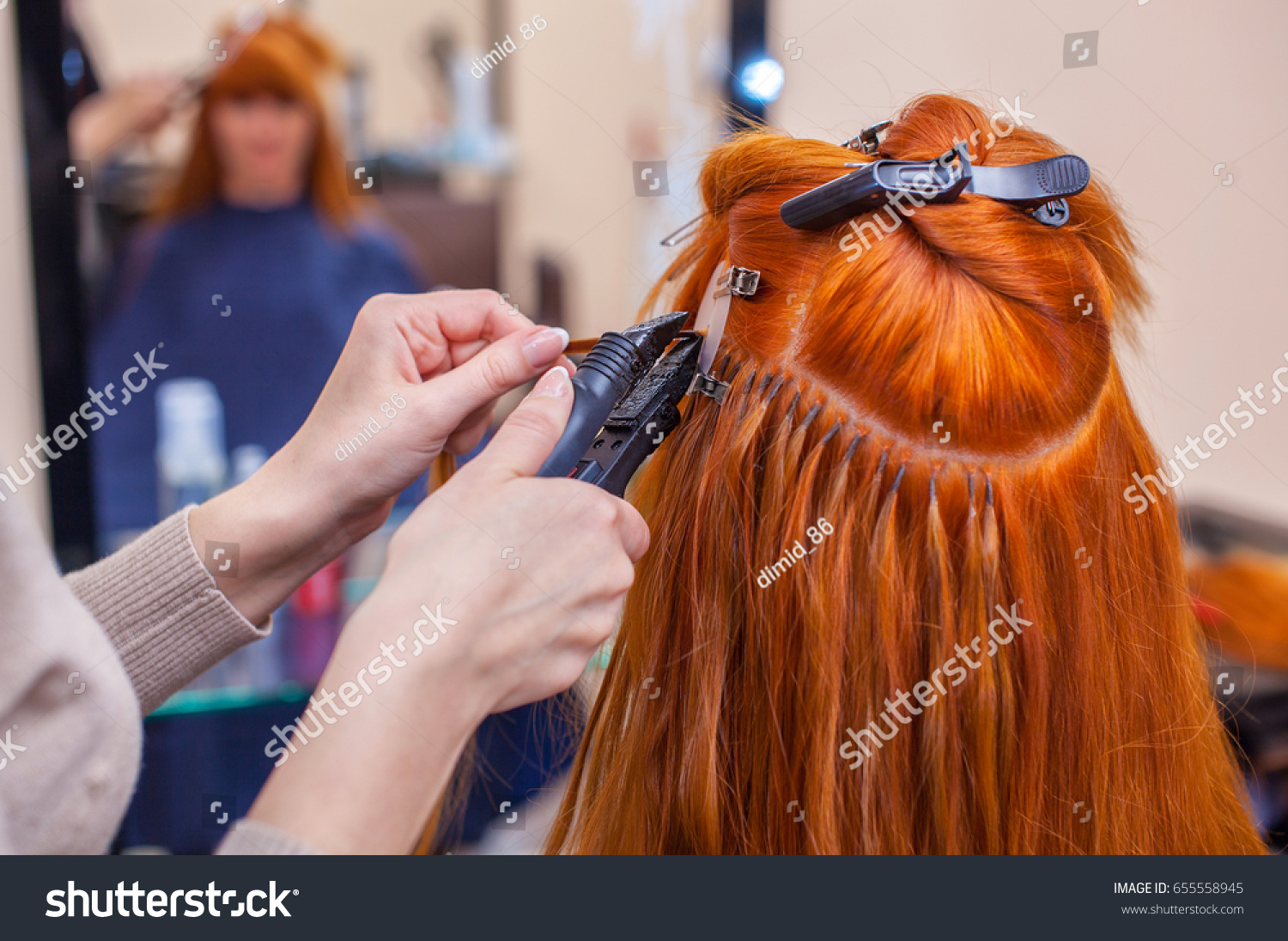 Hairdresser Does Hair Extensions Young Redhaired Stock Photo