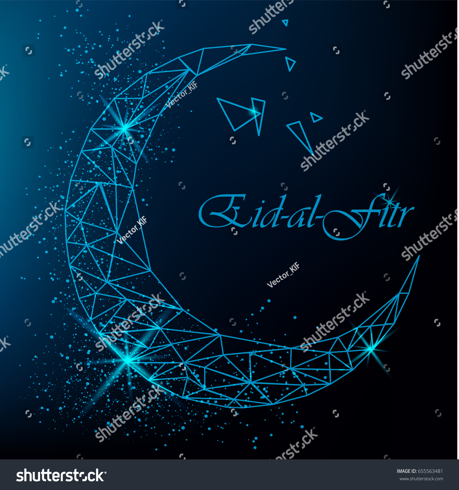 Eid al fitr beautiful greeting card stock vector 655563481 eid al fitr beautiful greeting card with polygonal moon with glitter on blue background eid kristyandbryce Images