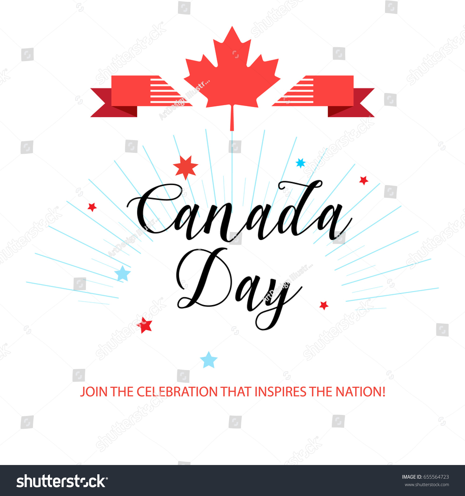 happy canada day greeting card poster stock vector 655564723