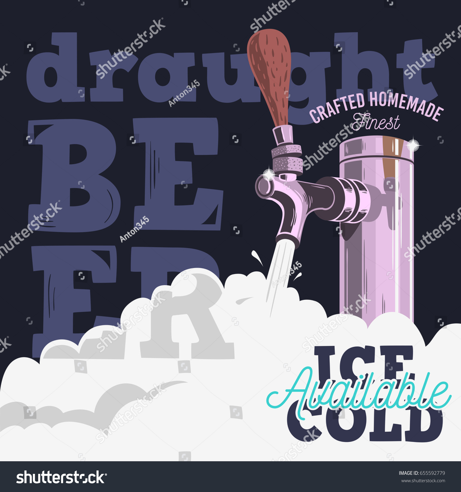 Poster design vector graphics - Draft Beer Tap With Foam Poster Design For Promotion Vector Graphic