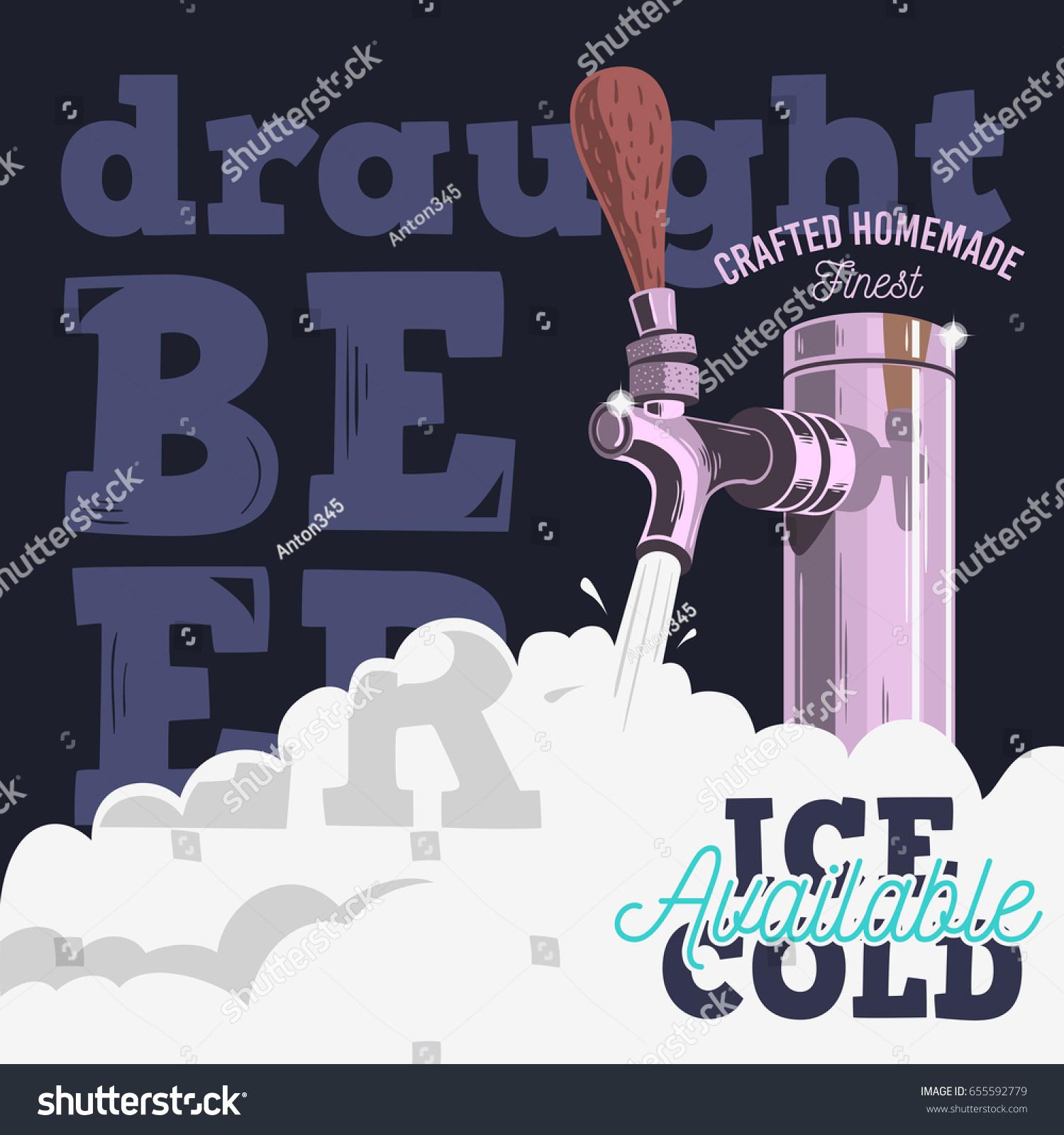 Poster design vector graphics - Draft Beer Tap With Foam Poster Design For Promotion Vector Graphic
