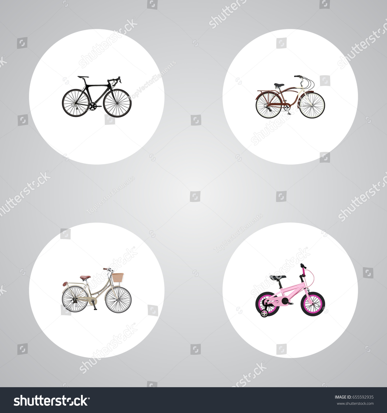 Realistic exercise riding journey bike brand stock vector realistic exercise riding journey bike brand vector elements set of bike realistic symbols biocorpaavc Images