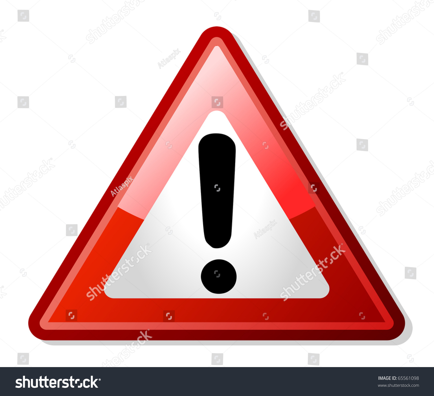 exclamation mark red triangle shaped warning stock