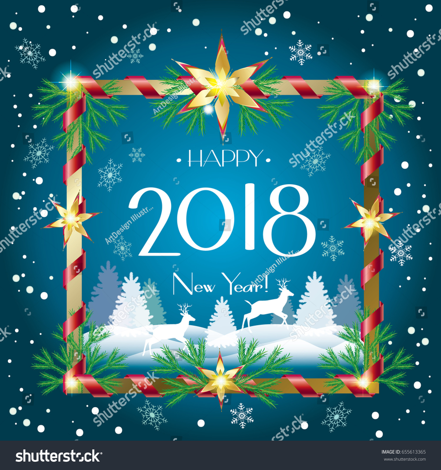merry christmas and happy new year greeting card with falling snow sparkle reindeer