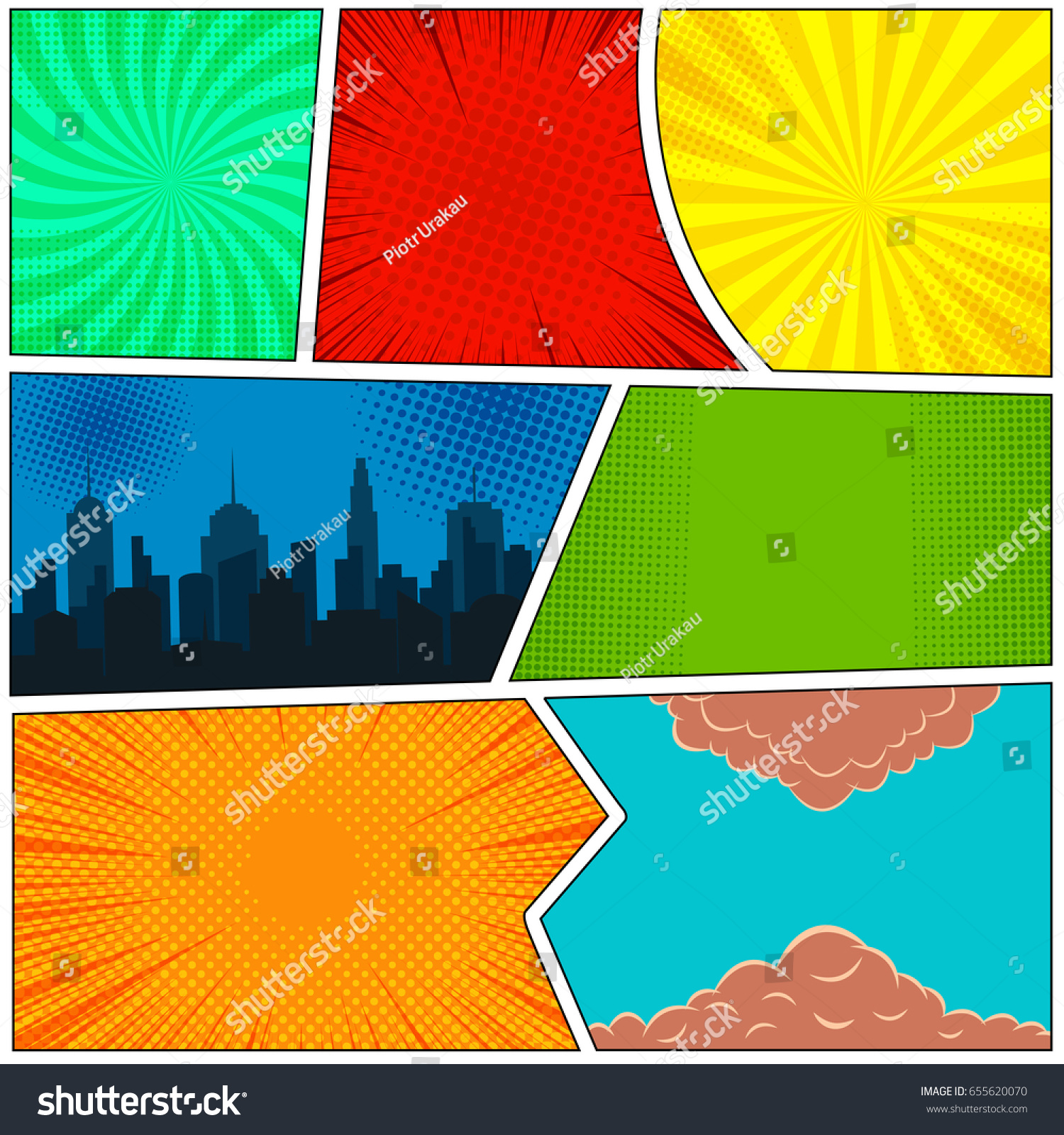 Colorful Comic Book Template Night City Stock Vector