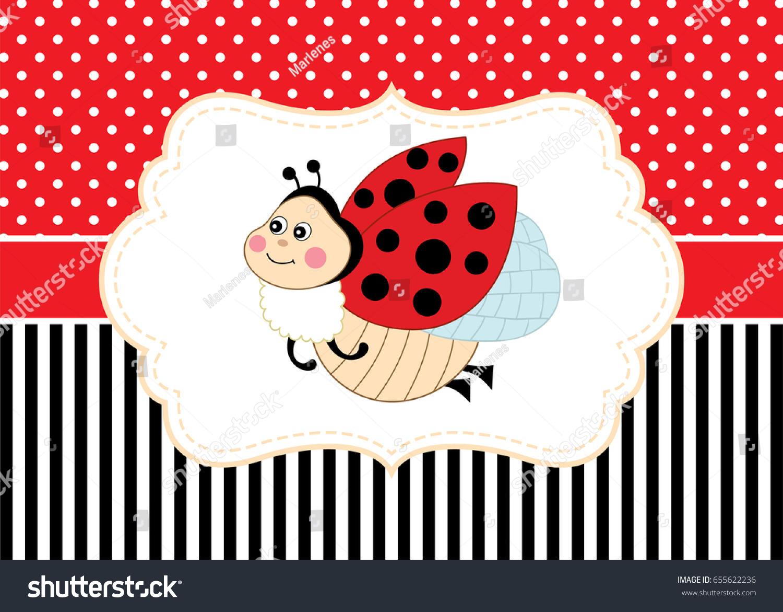 vector greeting card template cute ladybug stock vector royalty