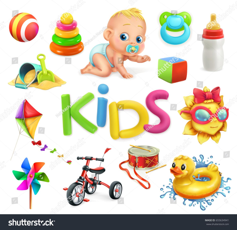 Kids Toys Children Playground 3d Vector Stock Vector