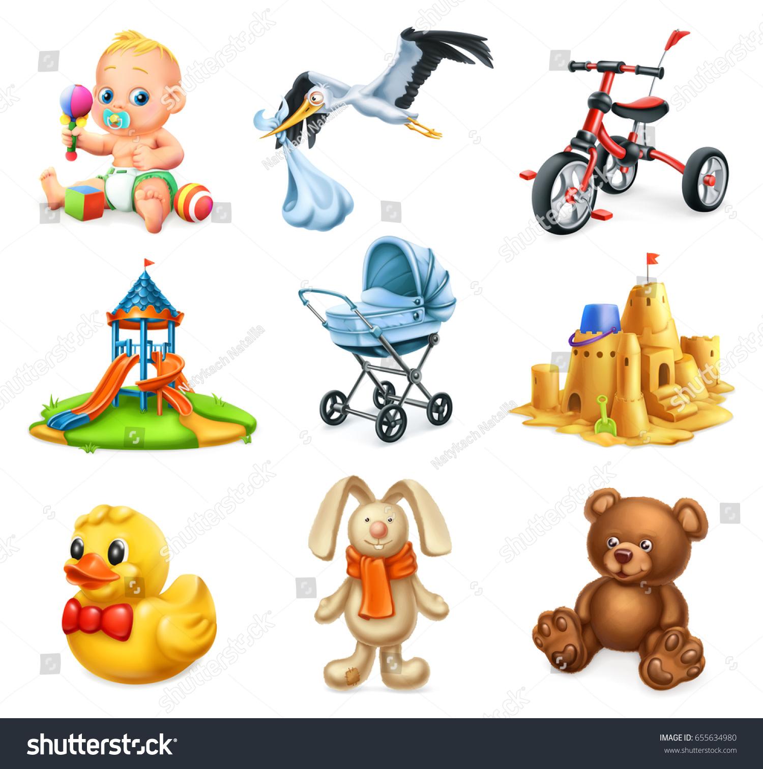 Children Playground Kids Toys 3d Vector Stock vektorgrafik