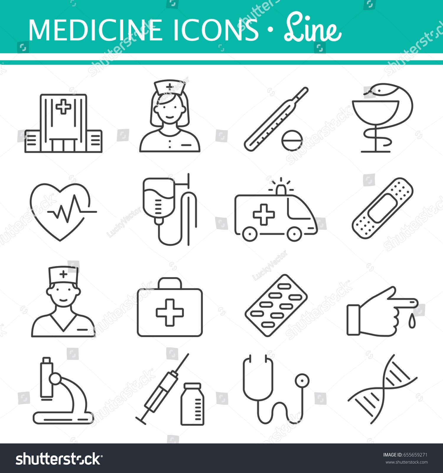 Medicine health symbols info graphics websites stock vector medicine and health symbols for info graphics websites and print media contour simple medical buycottarizona Choice Image