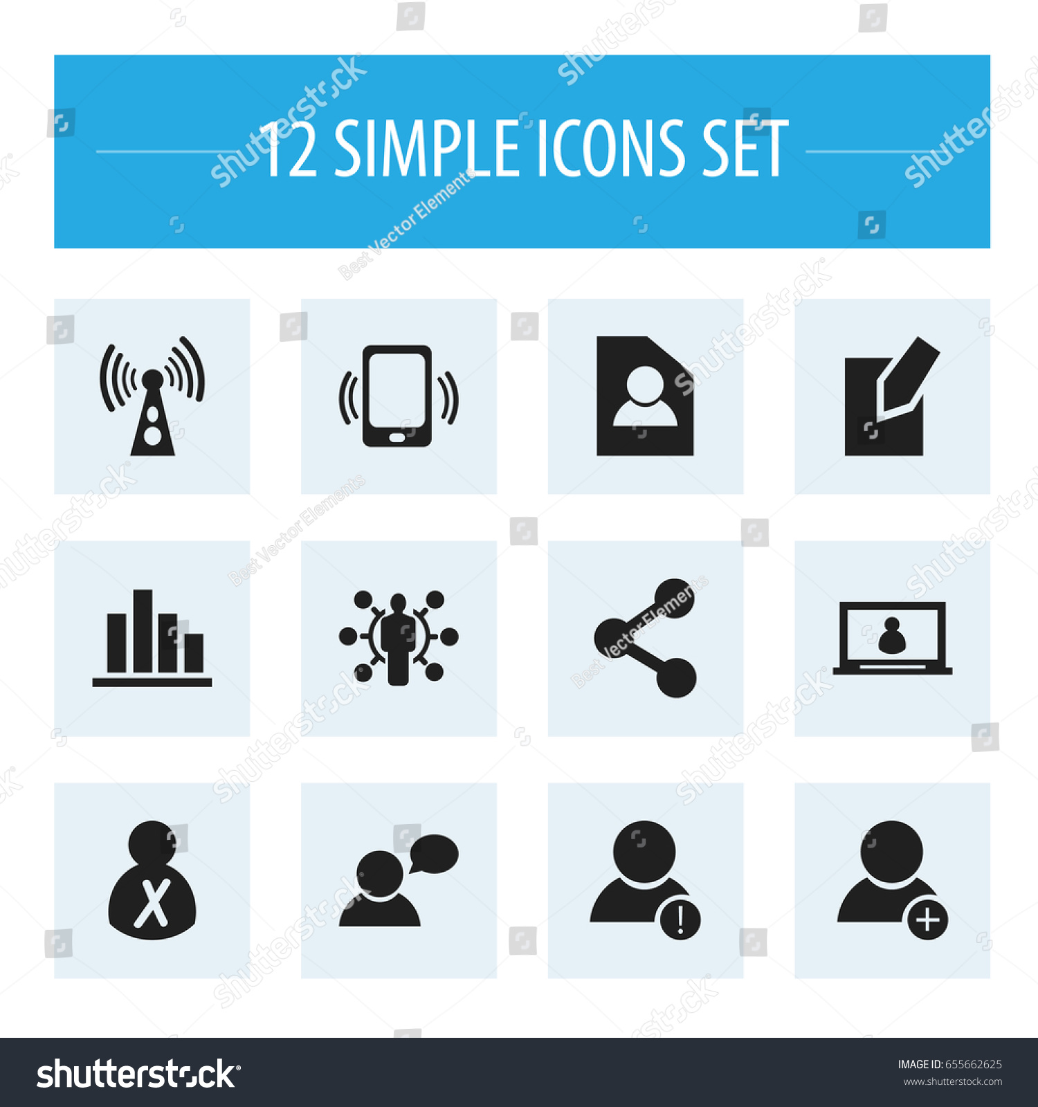 Set 12 editable internet icons includes stock vector 655662625 set of 12 editable internet icons includes symbols such as account wireless transmission biocorpaavc