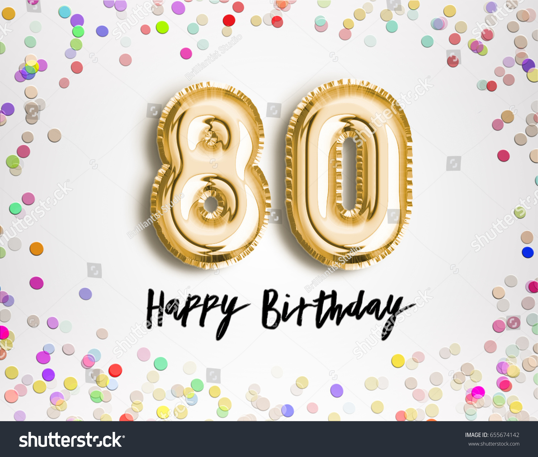 80th Birthday Celebration Gold Balloons Colorful Stock Illustration  655674142